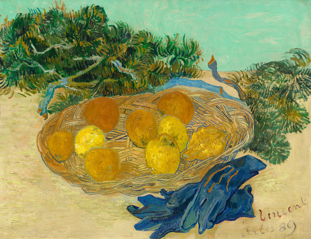 Still Life with Oranges, Lemons and Blue Gloves 1889