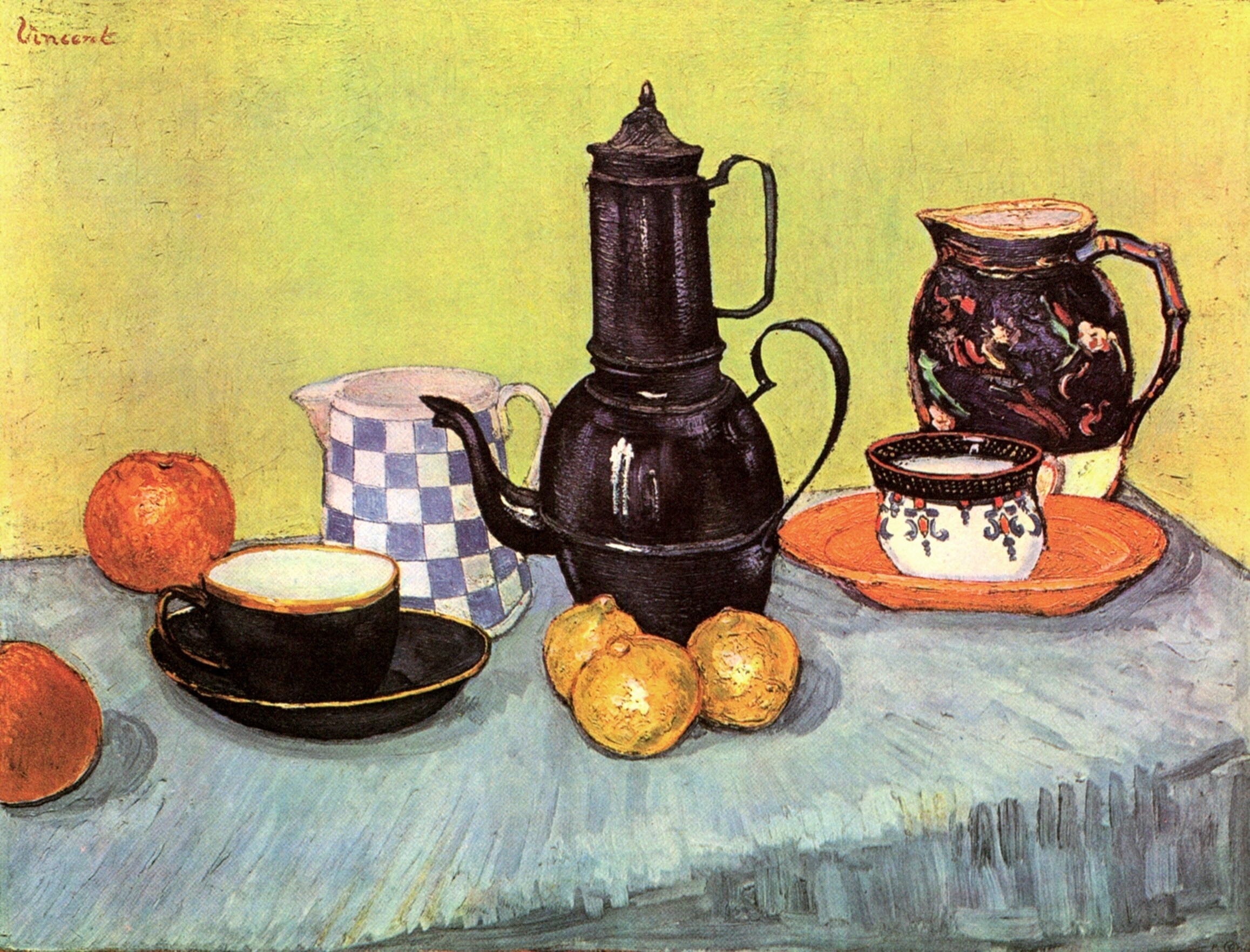 Still Life: Blue Enamel Coffeepot, Earthenware and Fruit 1888