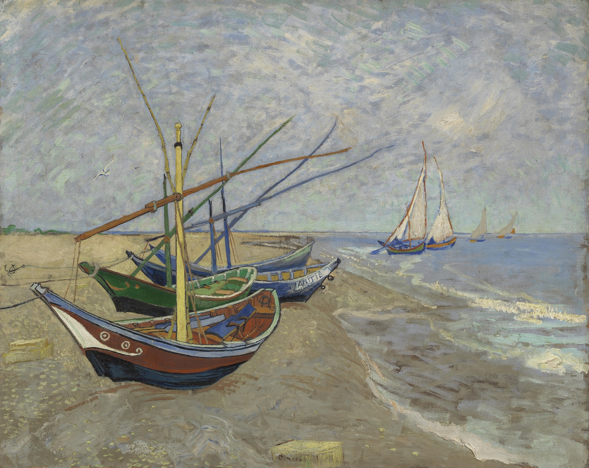 Fishing Boats on the Beach at Saintes-Maries 1888