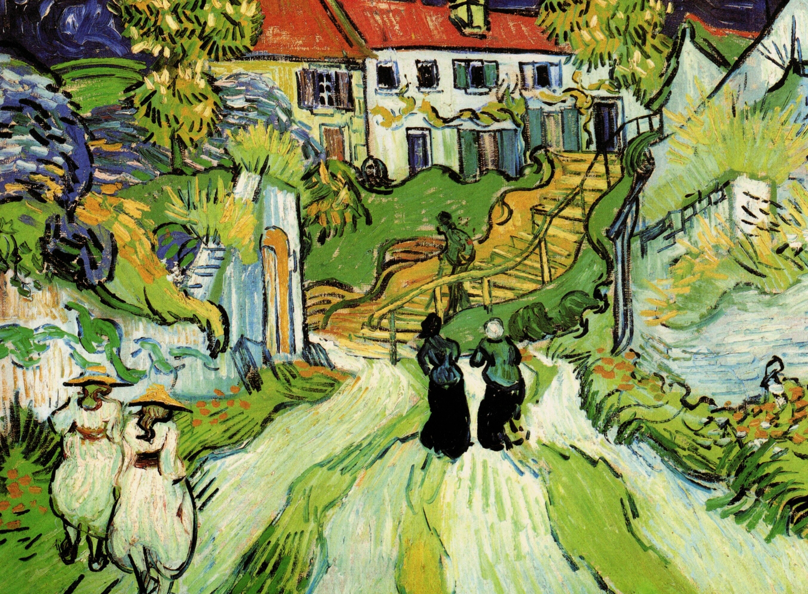 Village Street and Steps in Auvers with Figures 1890