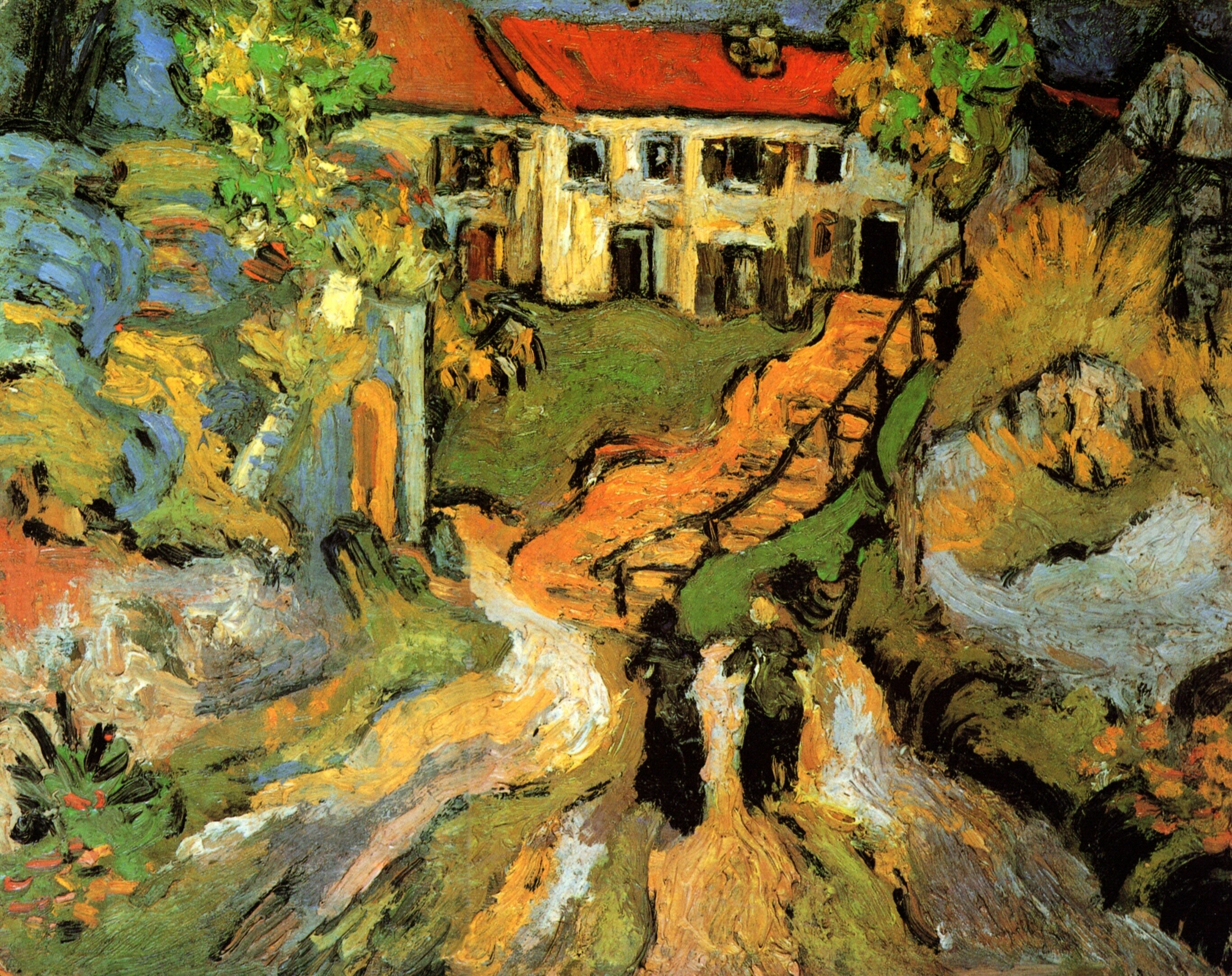 Village Street and Steps in Auvers with Two Figures 1890