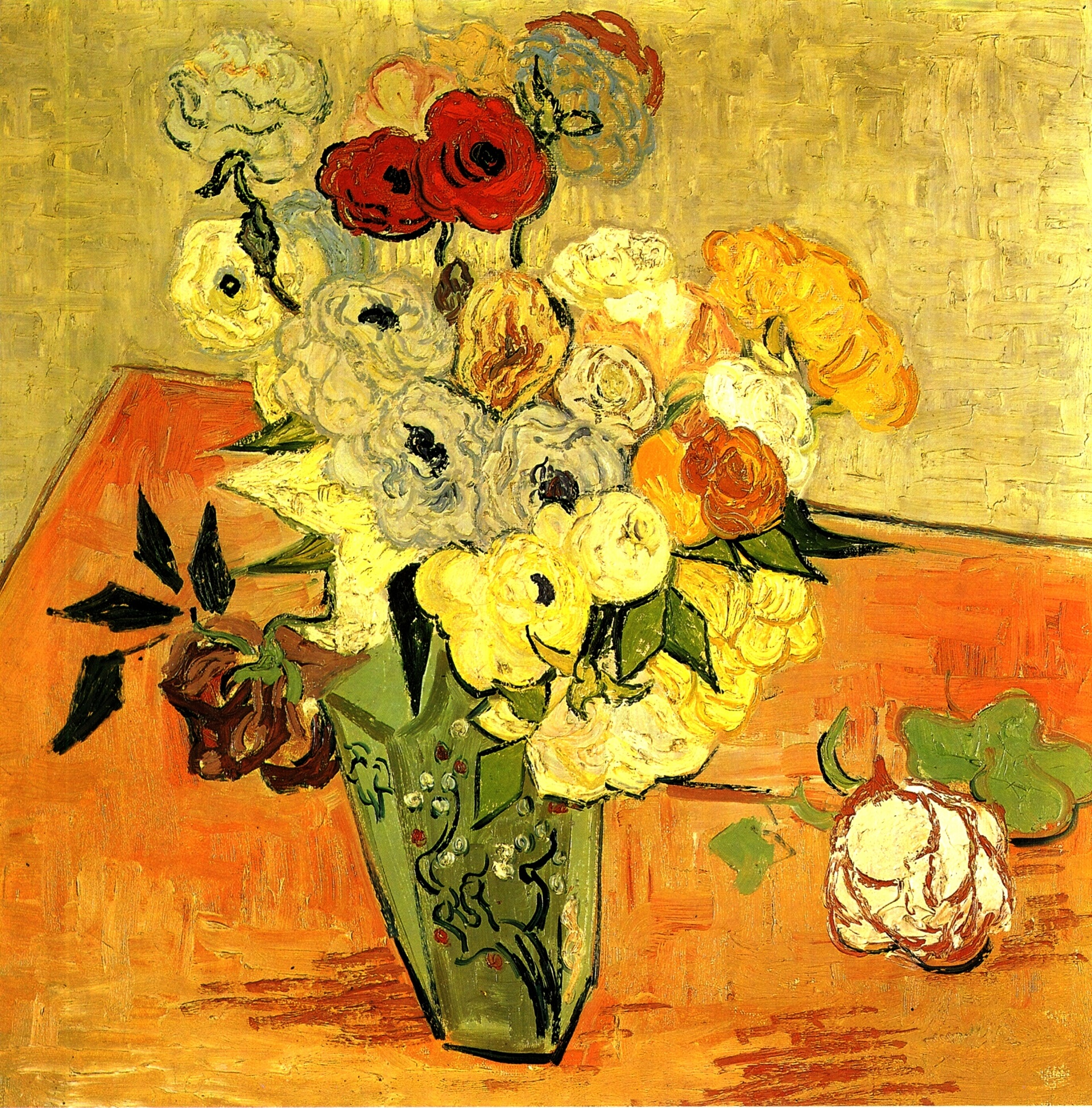 Vincent van gogh paintings by 1890 in high definition art vangogh 1890 still life japanese vase with roses and anemones reviewsmspy
