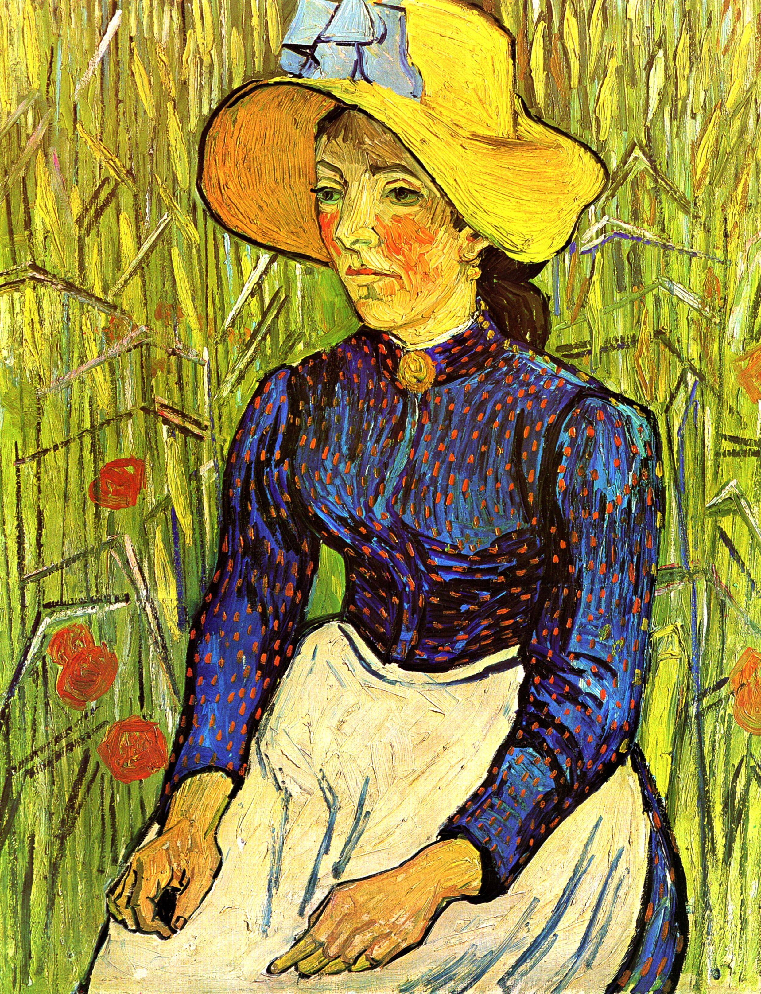 Young Peasant Woman with Straw Hat Sitting in the Wheat 1890