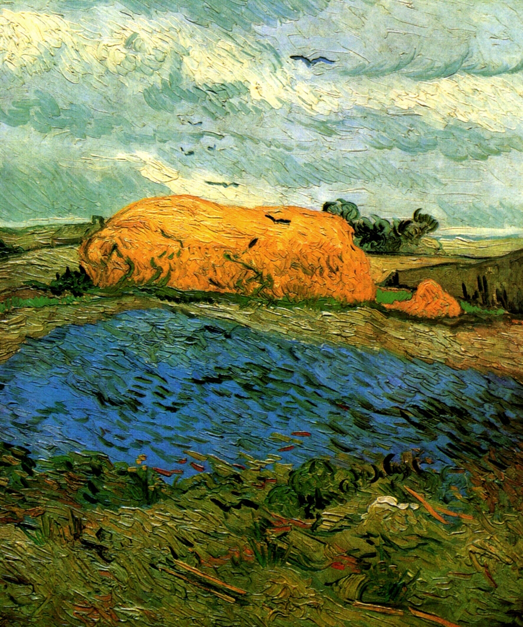 Haystacks under a Rainy Sky 1890