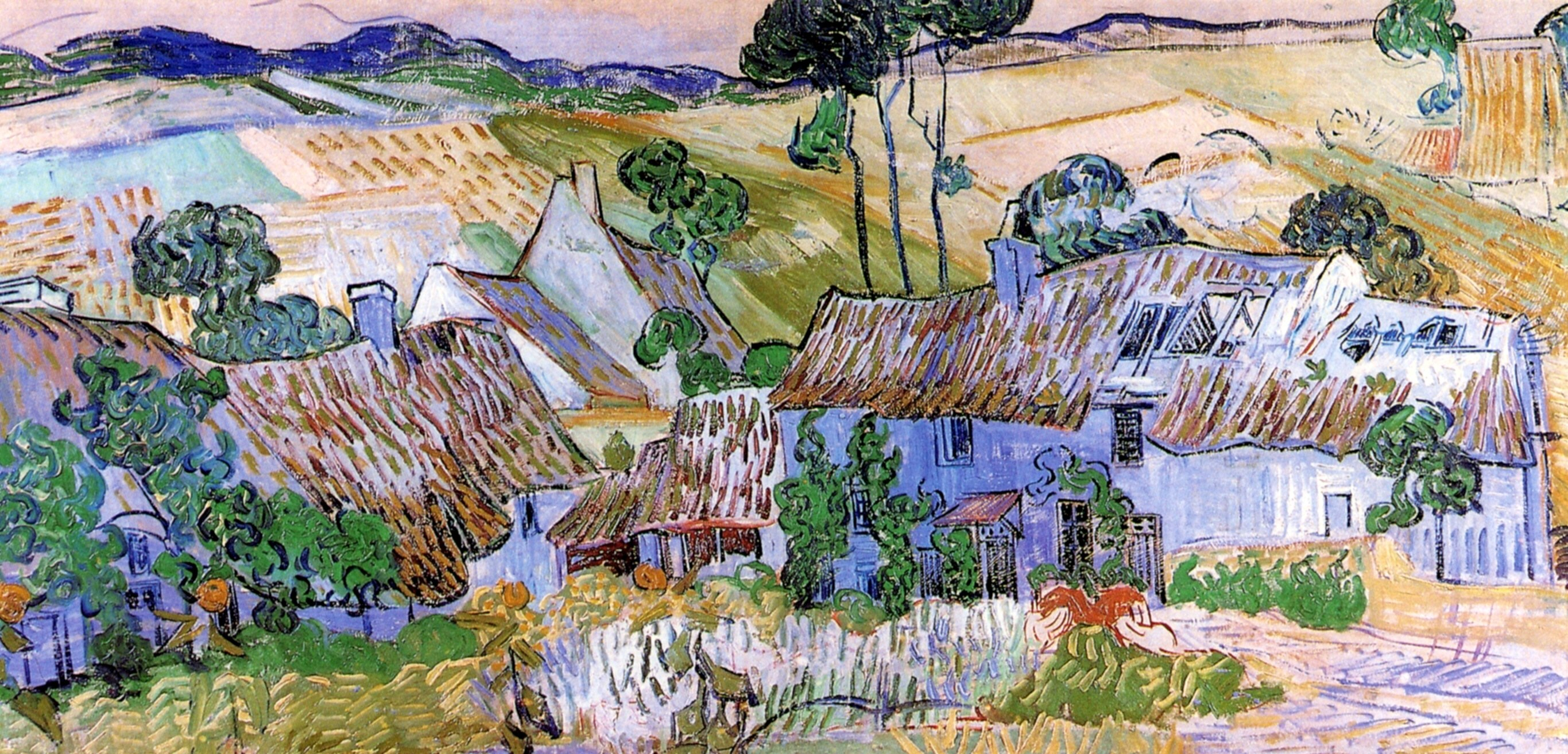 Thatched Cottages by a Hill 1890