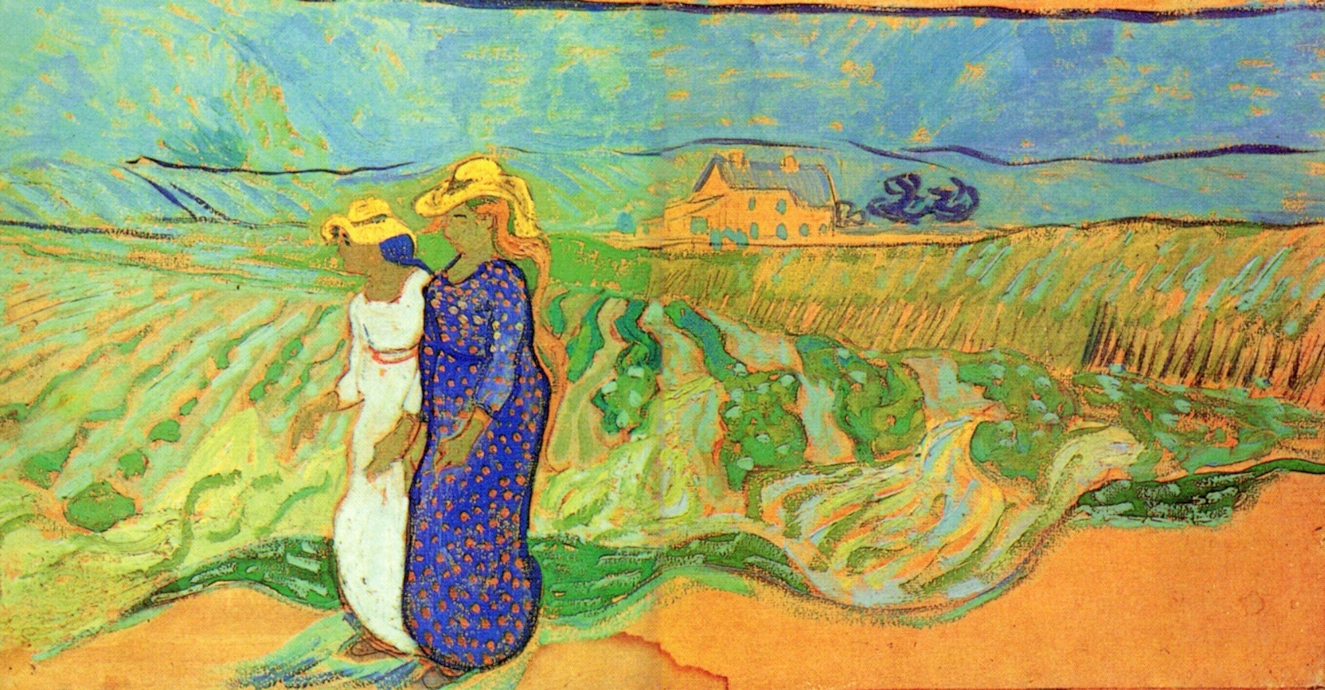 Two Women Crossing the Fields 1890