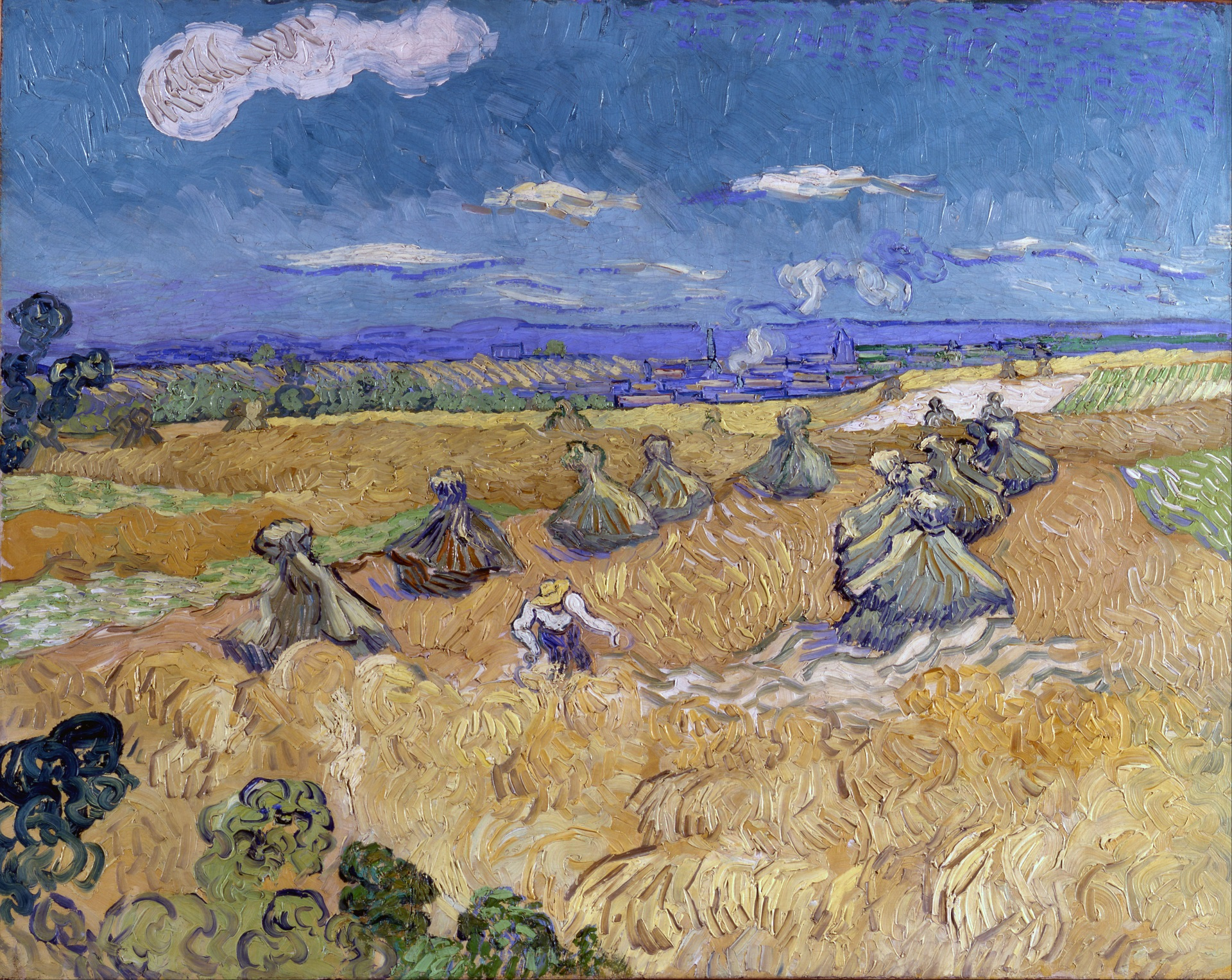 Wheat Stacks with Reaper 1890