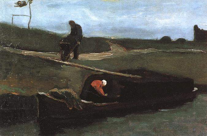 Peat Boat with Two Figures 1883