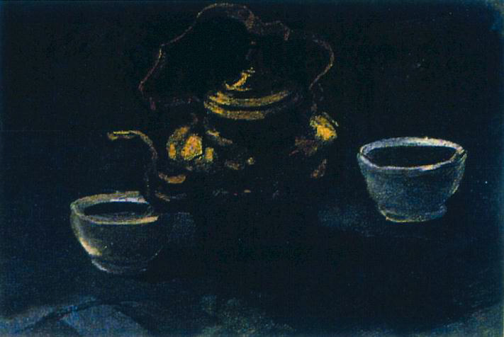 Still Life with Copper Coffeepot and Two White Bowls 1885