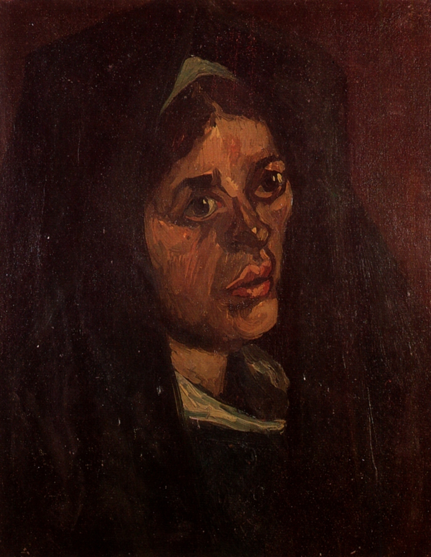 Head of a Peasant Woman in a Green Shawl 1885