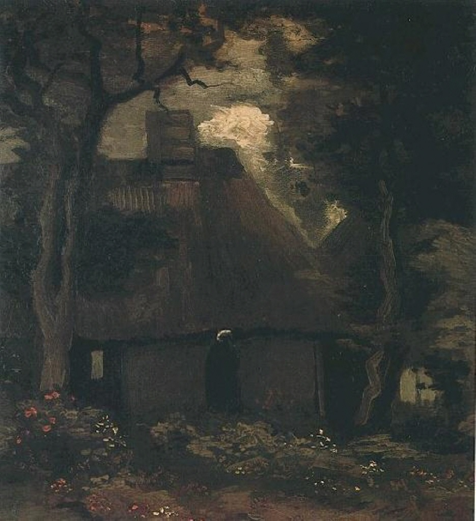 Cottage with Trees and Peasant Woman 1885
