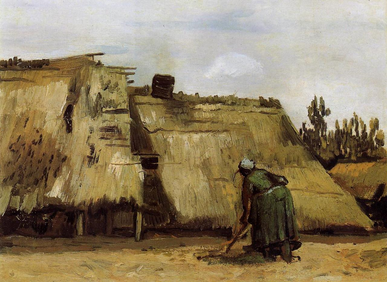 Peasant Woman Digging in Front of Her Cottage 1885