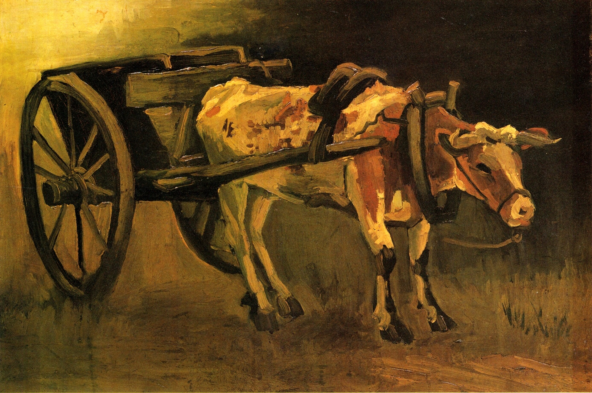Cart with Red and White Ox 1884