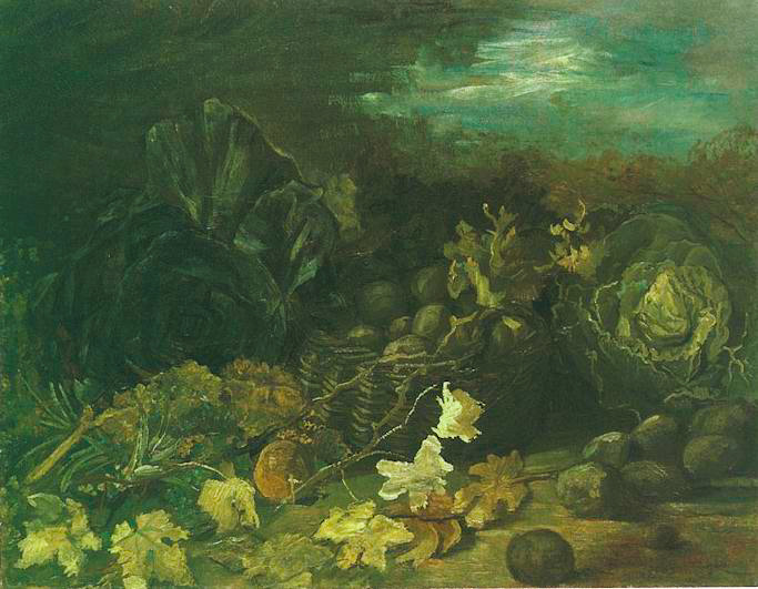 Still Life with a Basket of Potatoes, Surrounded by Autumn Leaves and Vegetables 1885