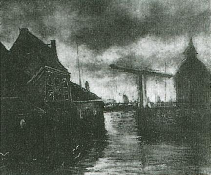 View of a Town with Drawbridge 1885