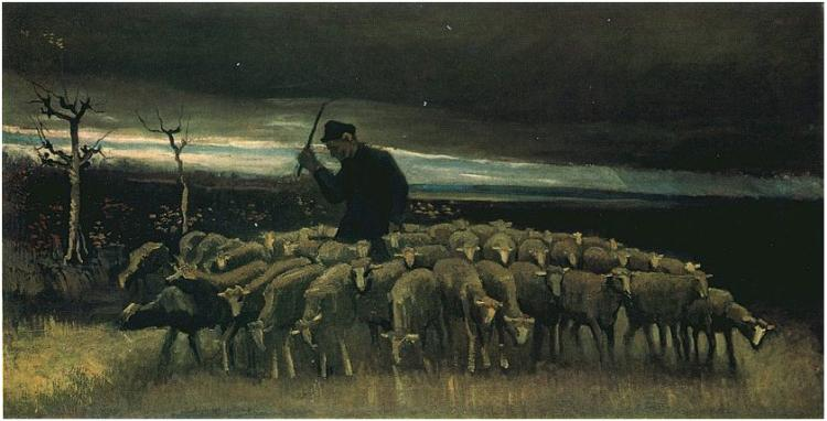 Shepherd with a Flock of Sheep 1884