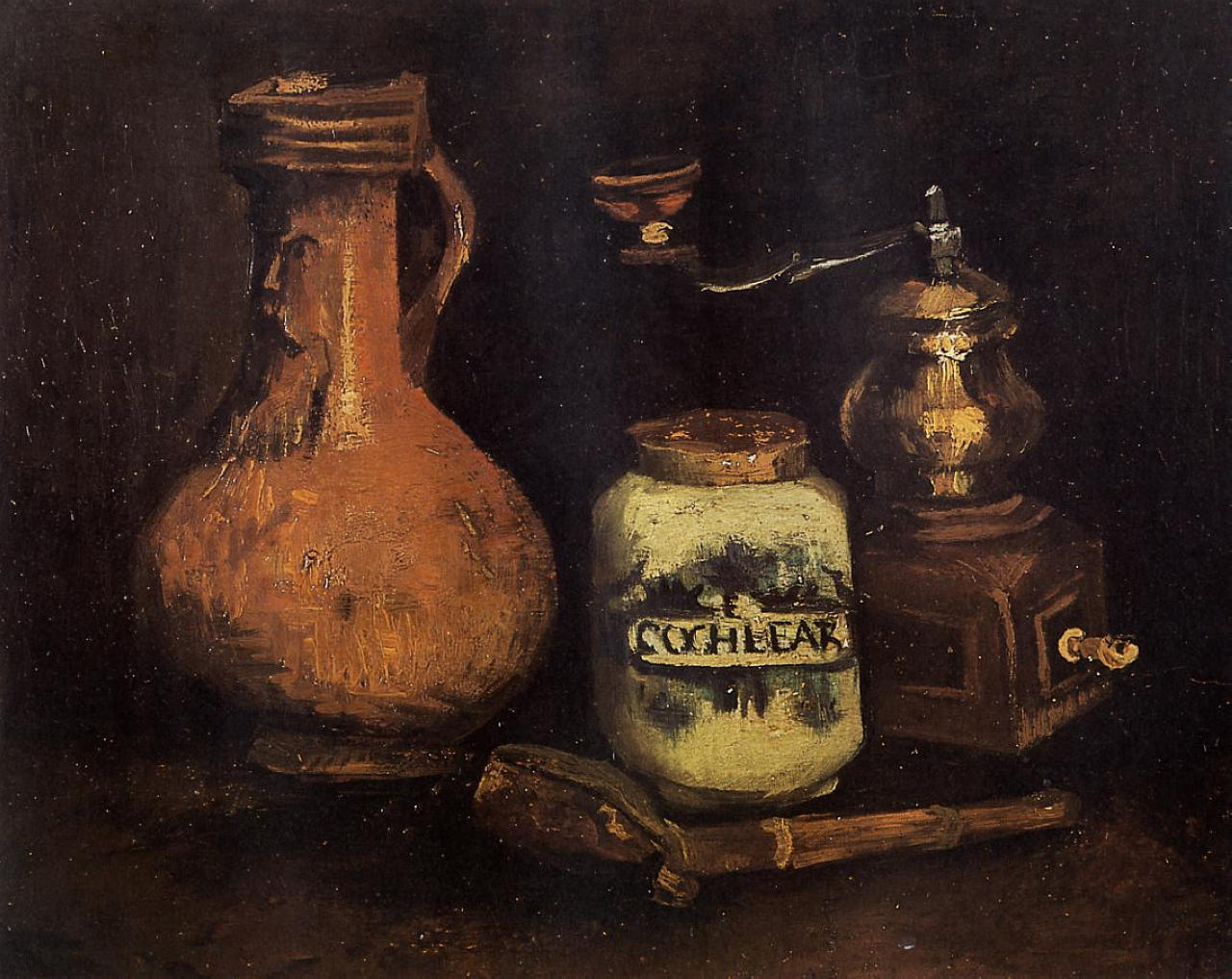 Still Life with Coffee Mill, Pipe Case and Jug 1884
