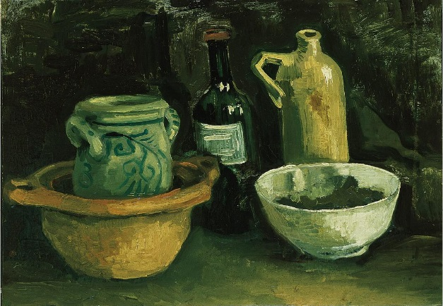 Still Life with Pottery and Two Bottles 1884
