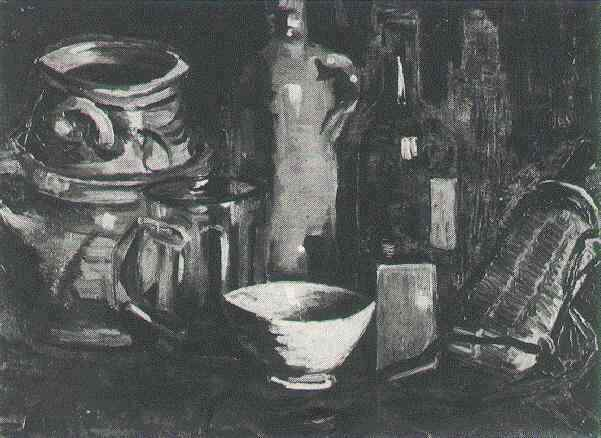 Still Life with Pottery, Beer Glass and Bottle 1884
