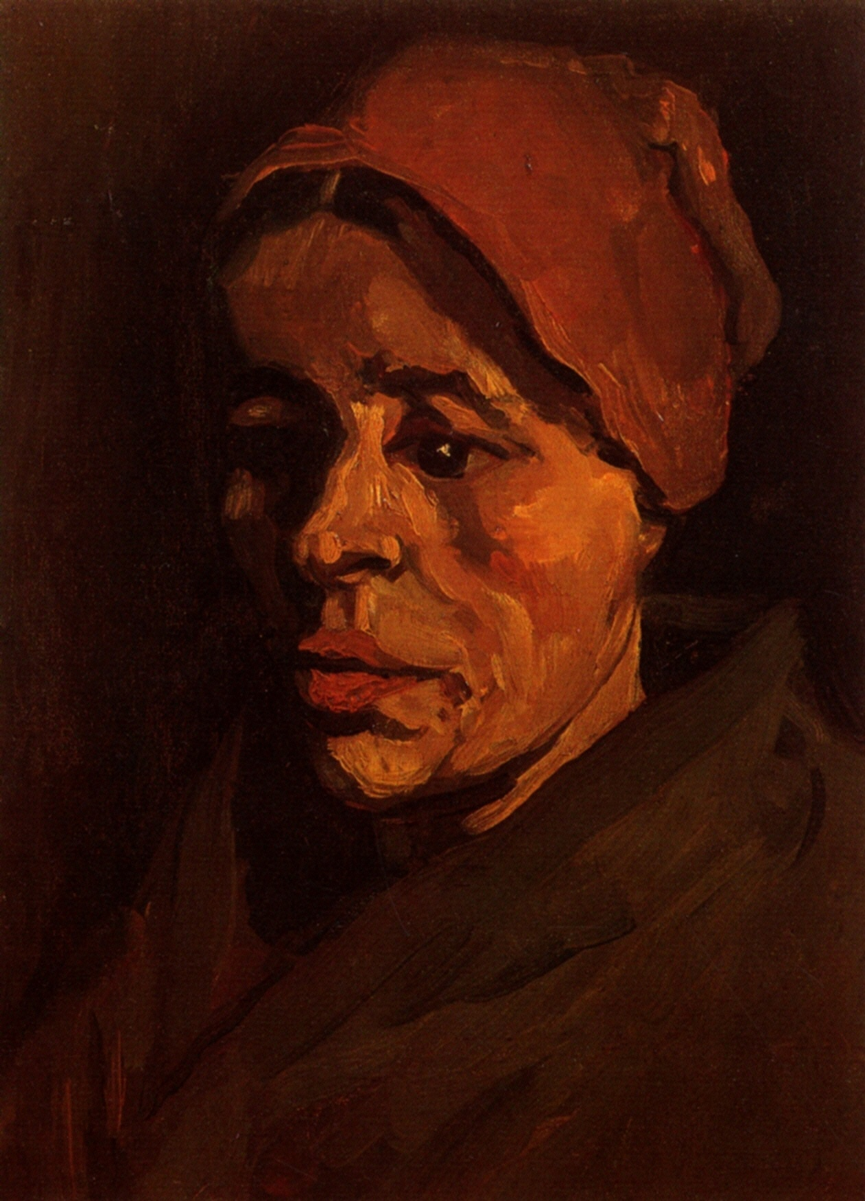 Head of a Peasant Woman with Brownish Cap 1885
