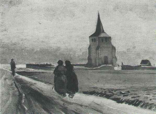 The Old Tower of Nuenen with People Walking 1884