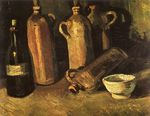 Still Life with Four Stone Bottles, Flask and White Cup