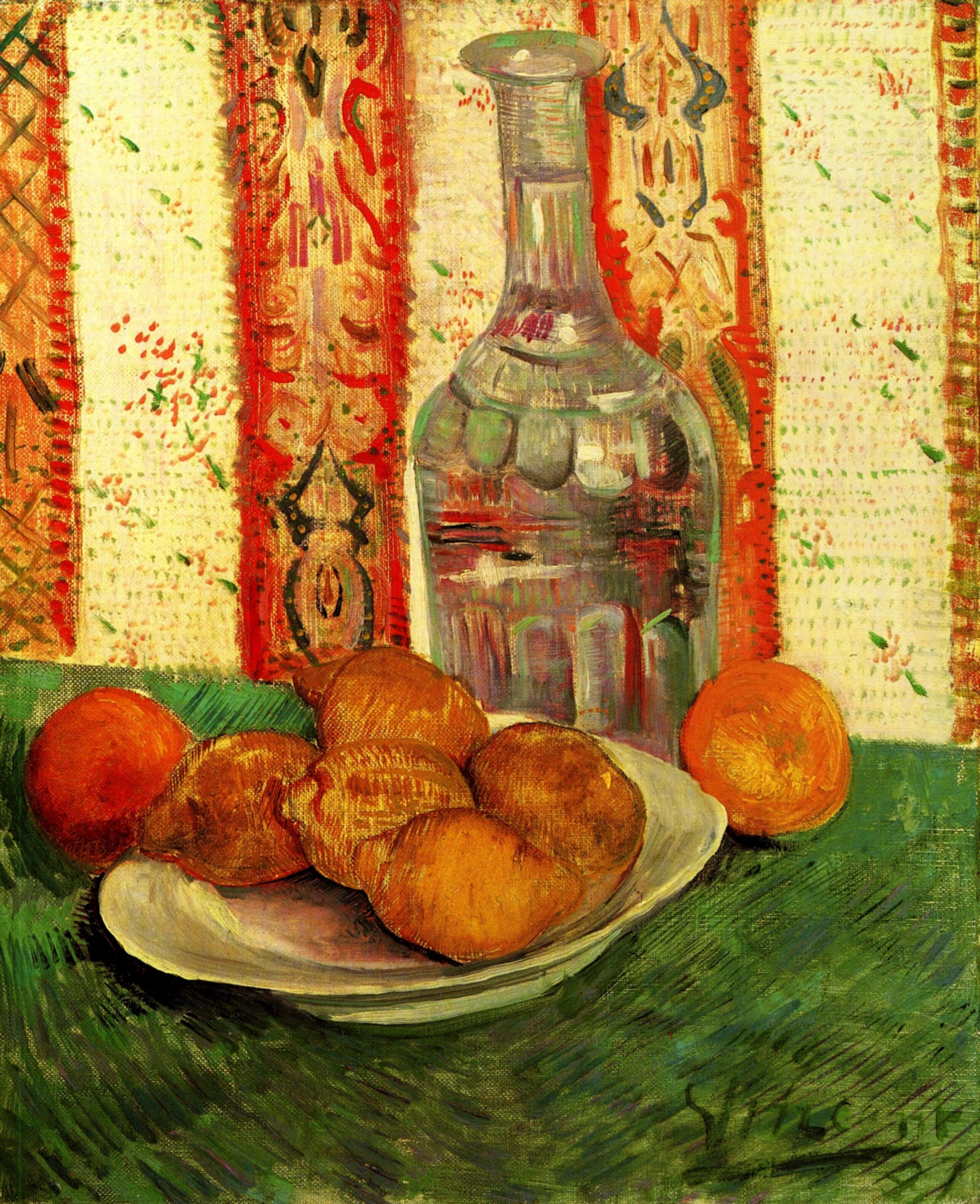 Still Life with Decanter and Lemons on a Plate 1887