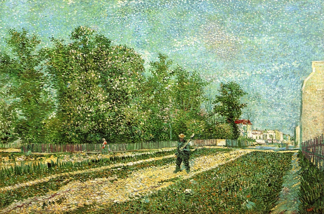 Outskirts of Paris: Road with Peasant Shouldering a Spade 1887