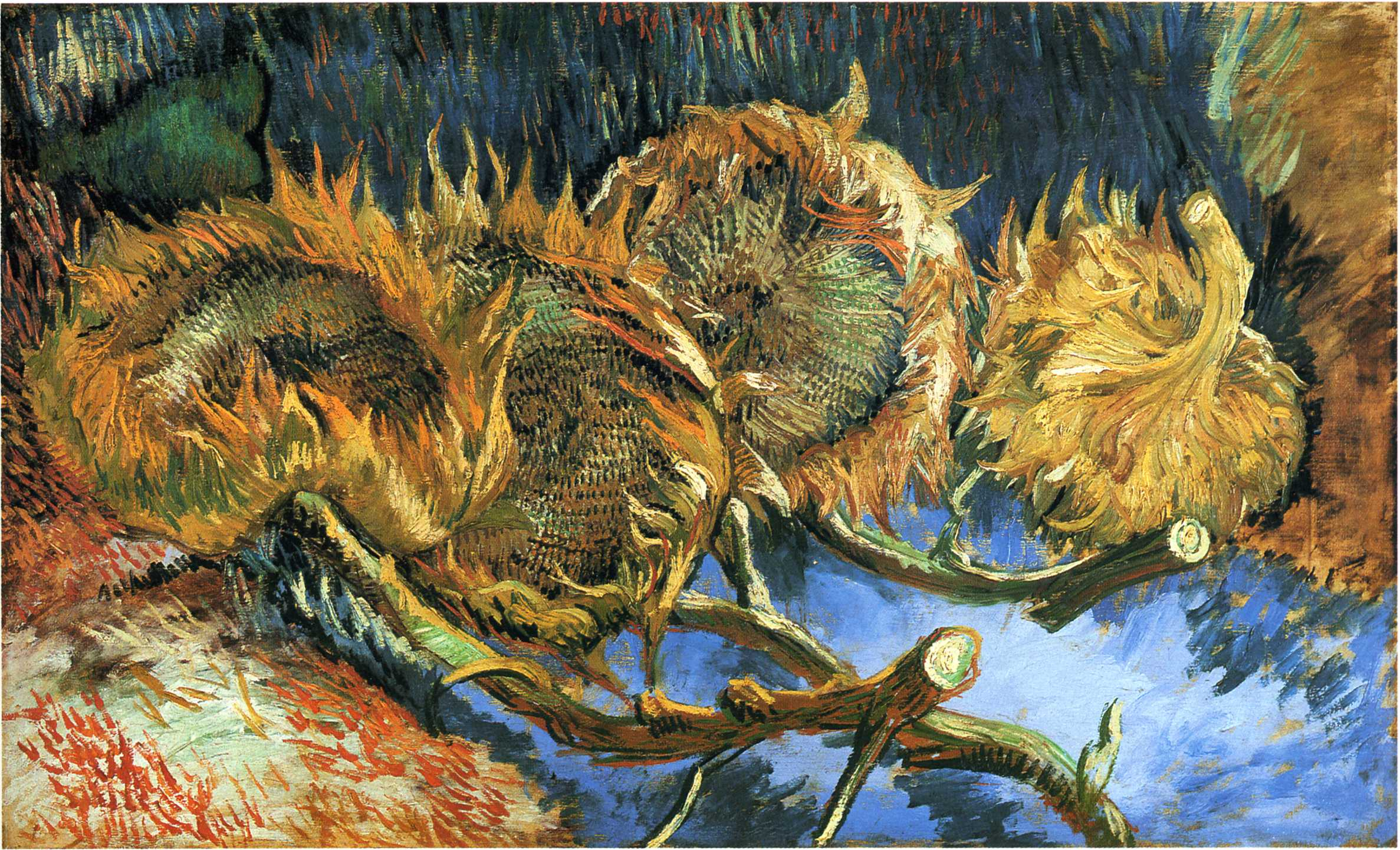 Four Cut Sunflowers 1887