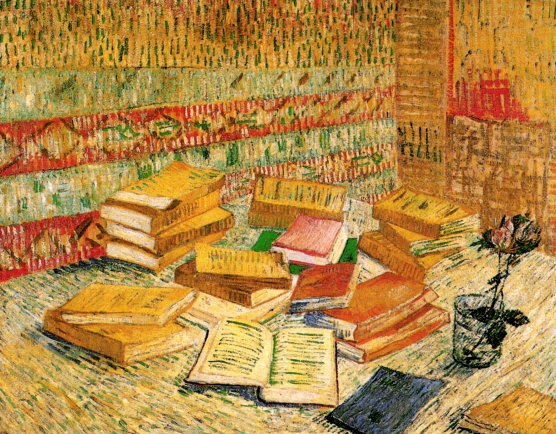 Still Life with French Novels and a Rose 1887