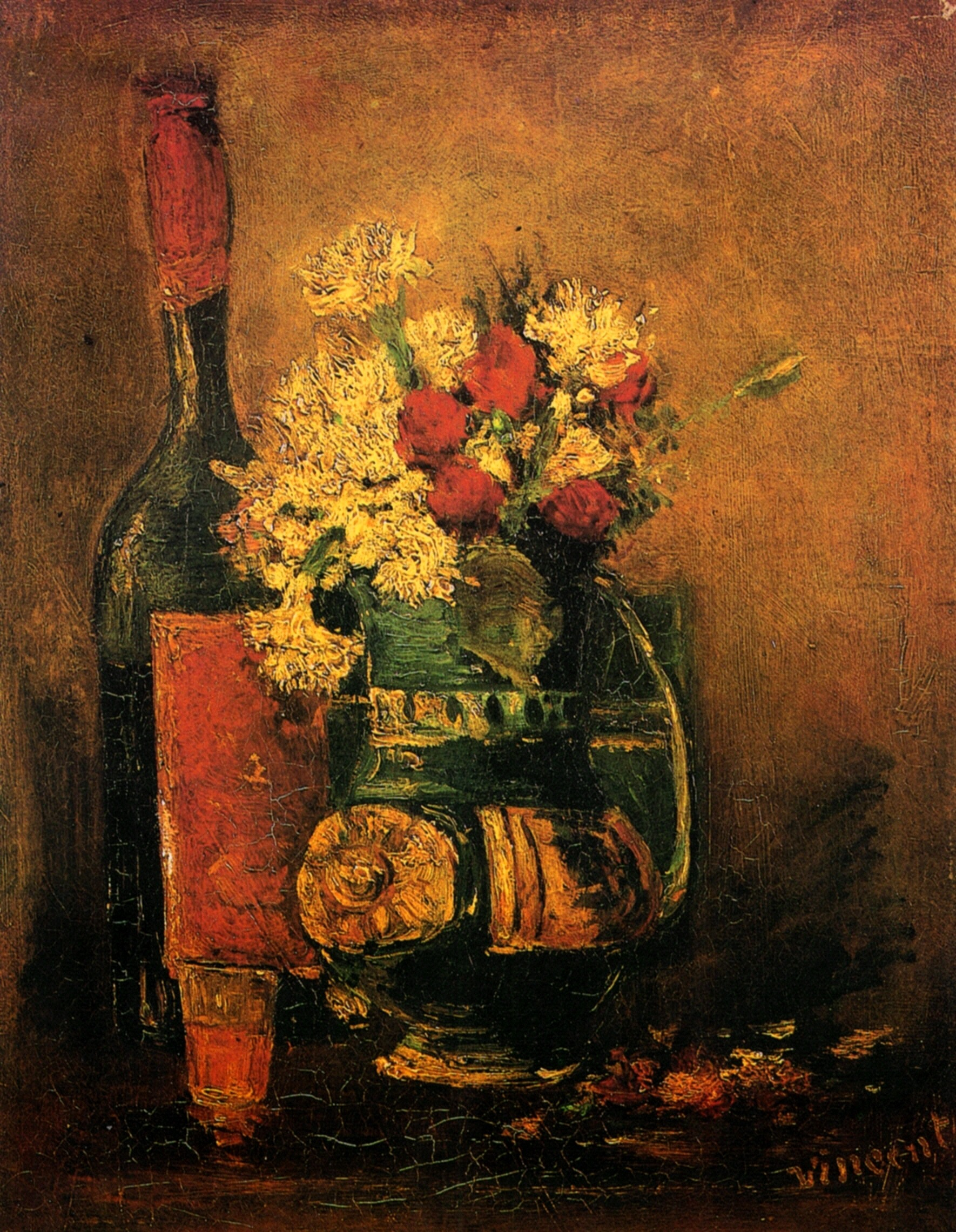 Vase with Carnations and Bottle 1886