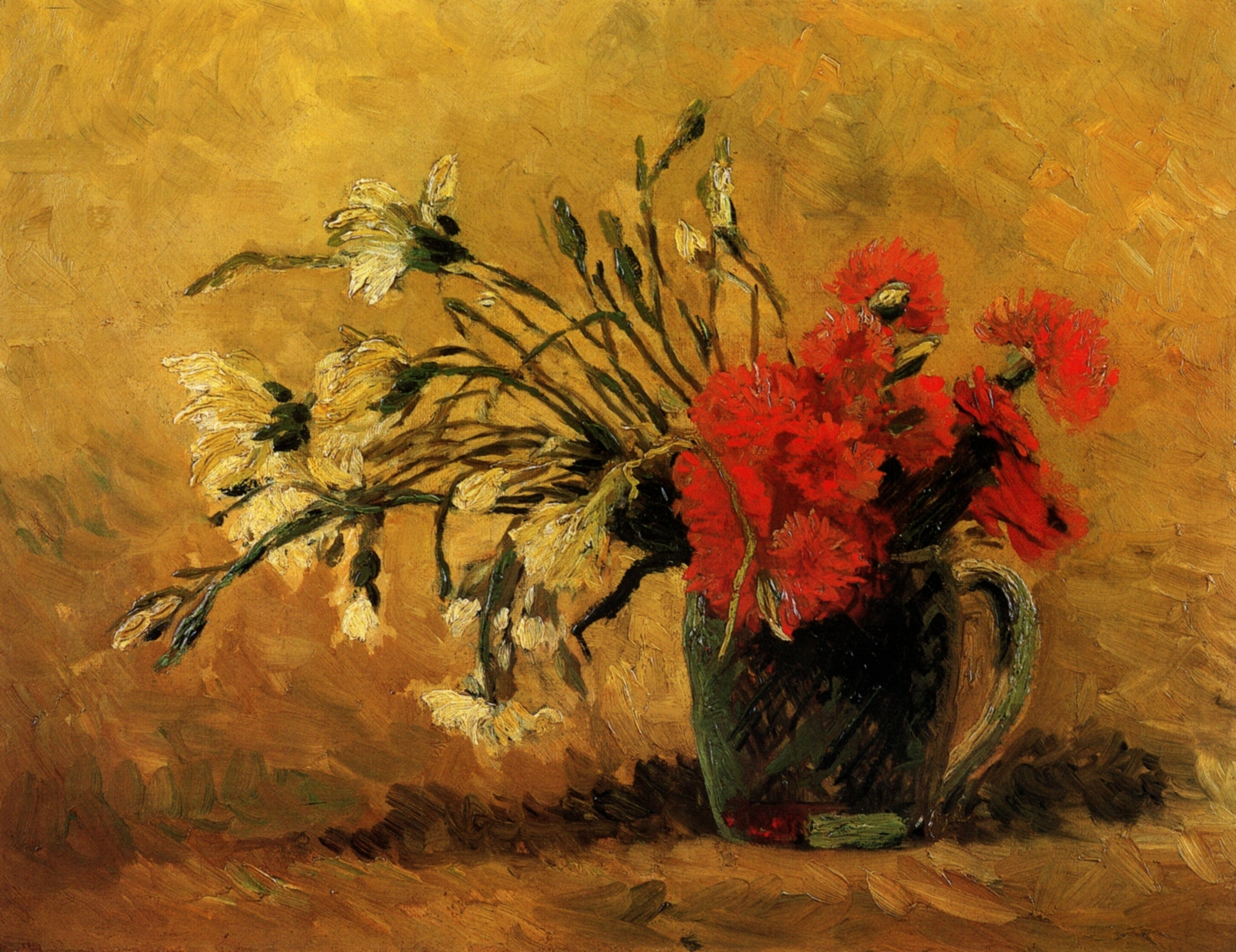 Vase with Red and White Carnations on Yellow Background 1886