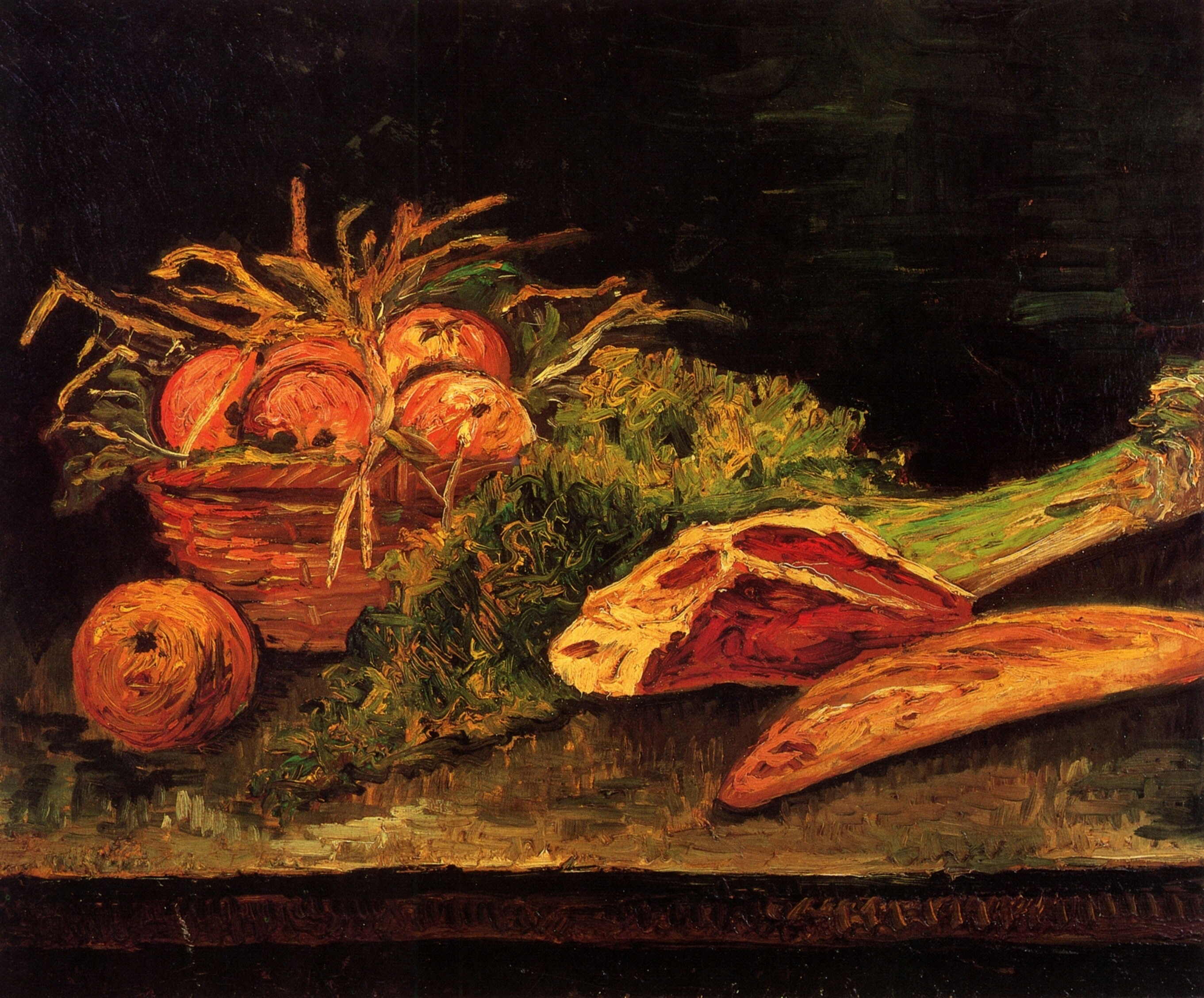 Still Life with Apples, Meat and a Roll 1886