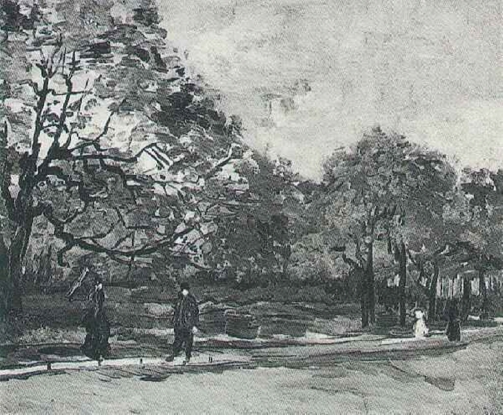 The Bois de Boulogne with People Walking 1886