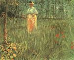 A woman walking in garden