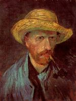 Self-Portrait with Straw Hat and Pipe