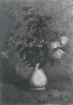 White Vase with Roses and Other Flowers
