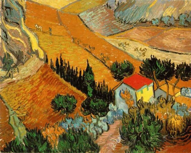 Valley with Ploughman Seen from Above 1889