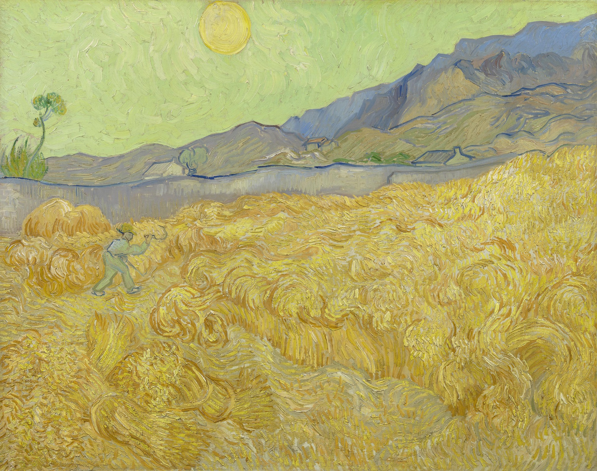 Wheat Fields with Reaper at Sunrise 1889