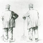 Two Sketches of a Man Leaning on His Spade